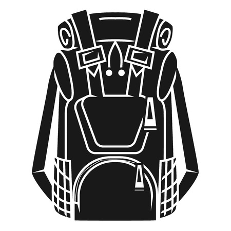 Large tourist backpack icon. Simple illustration of large tourist backpack icon for web design isolated on white background