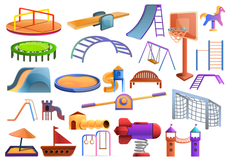 Kid playground icons set. Cartoon set of kid playground icons for web design