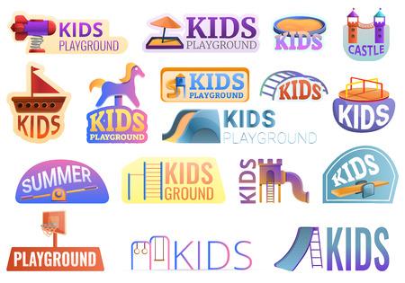 Kid playground outside logo set. Cartoon set of kid playground outside logo for web design