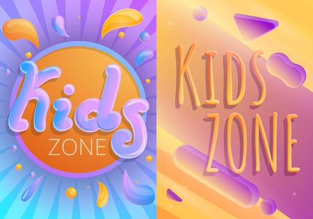 Children playground banner set. Cartoon illustration of children playground banner set for web design Stock Photo