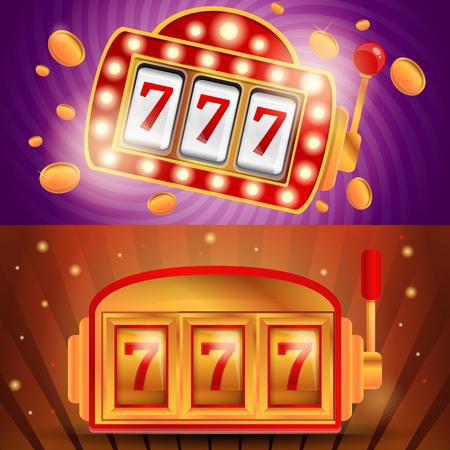 Casino slot machine banner set. Cartoon illustration of casino slot machine banner set for web design