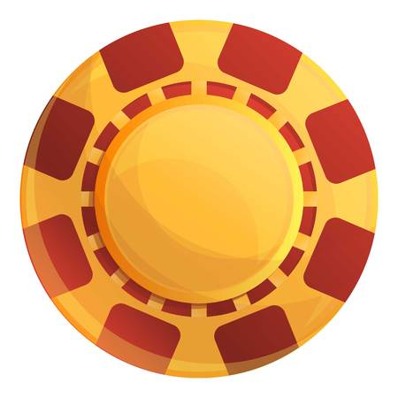 Yellow casino chips icon. Cartoon of yellow casino chips icon for web design isolated on white background