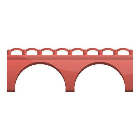 Red brick bridge icon. Cartoon of red brick bridge icon for web design isolated on white background