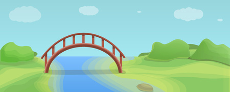 Wood river bridge concept banner. Cartoon illustration of wood river bridge concept banner for web design