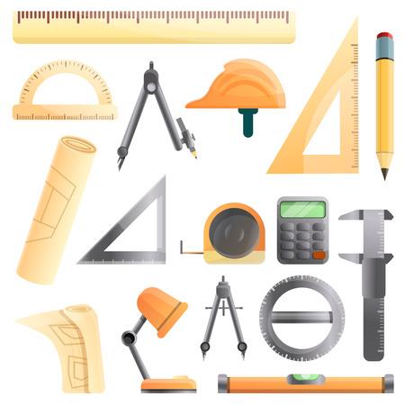 Architect equipment icons set. Cartoon set of architect equipment icons for web design