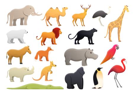 Park zoo icons set. Cartoon set of park zoo icons for web design Banco de Imagens