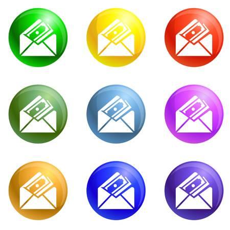 Money envelope icons 9 color set isolated on white background for any web design Stock Photo
