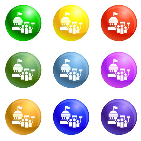 White house icons 9 color set isolated on white background for any web design