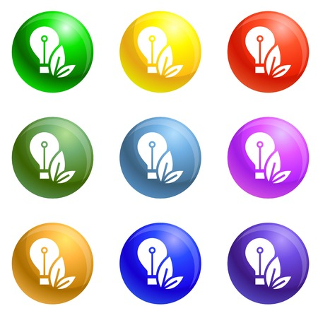 Eco bulb care hand icons 9 color set isolated on white background for any web design Standard-Bild
