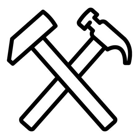 Crossed hammer icon. Outline crossed hammer icon for web design isolated on white background