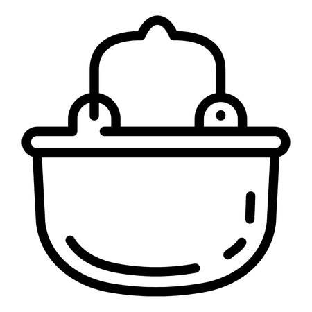 Camp cauldron icon. Outline camp cauldron icon for web design isolated on white background Standard-Bild - 122626999