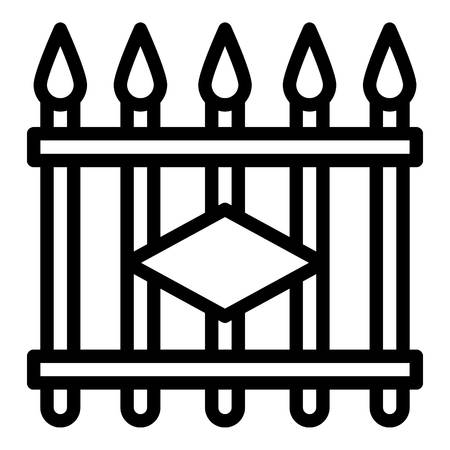 Metal fence icon. Outline metal fence icon for web design isolated on white background