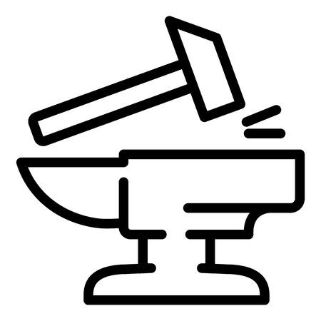 Martello sull'icona dell'incudine. Martello di contorno sull'icona dell'incudine per il web design isolato su sfondo bianco