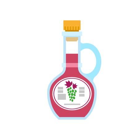 Grape vinegar bottle icon. Flat illustration of grape vinegar bottle icon for web design Archivio Fotografico - 122710988