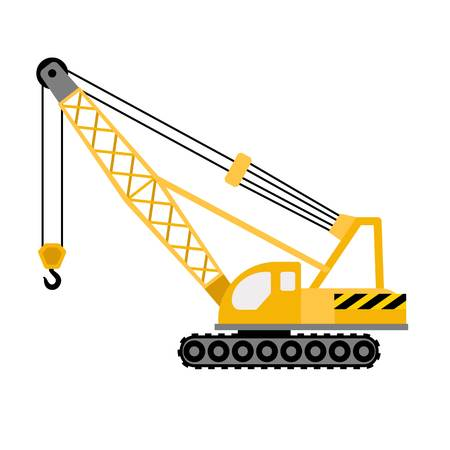 Construction excavator crane icon. Flat illustration of construction excavator crane icon for web design