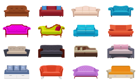 Sofa icons set. Flat set of sofa icons for web design