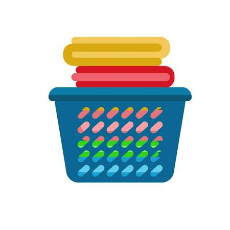 Clean clothes basket icon. Flat illustration of clean clothes basket icon for web design 写真素材
