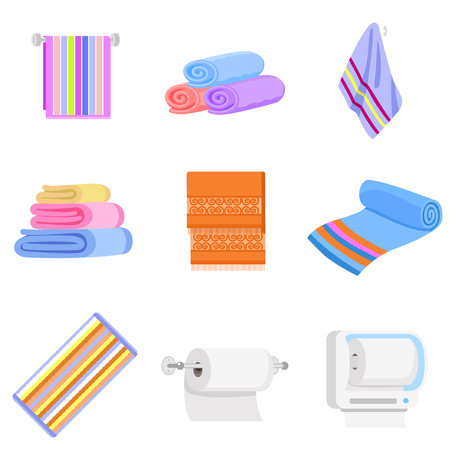 Towel icons set. Flat set of towel icons for web design