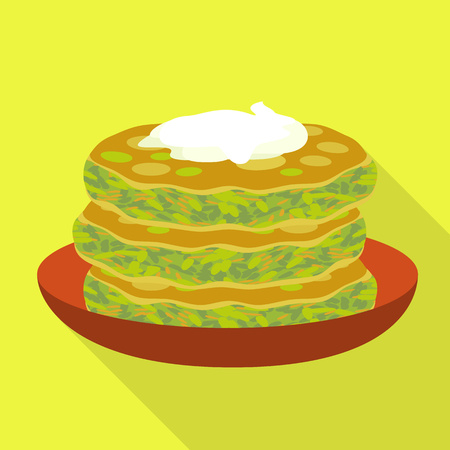 Spinach cake icon. Flat illustration of spinach cake icon for web design