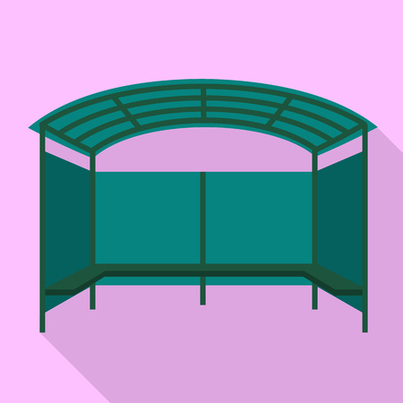 Tent bus station icon. Flat illustration of tent bus station icon for web design