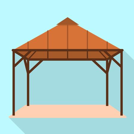 Wood gazebo icon. Flat illustration of wood gazebo icon for web design