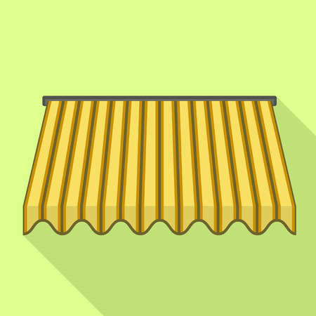 Yellow awning icon. Flat illustration of yellow awning icon for web design