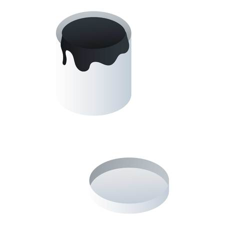 Paint bucket icon. Isometric of paint bucket icon for web design isolated on white background