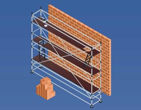 Scaffold brick wall banner. Isometric illustration of scaffold brick wall banner for web design