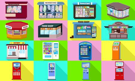 Kiosk icons set. Flat set of kiosk icons for web design
