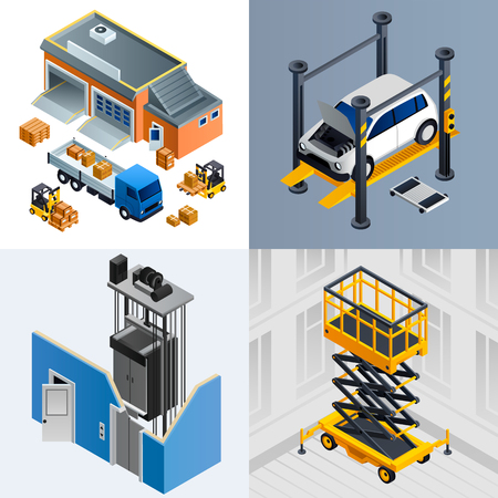 Hebemaschinen-Banner-Set. Isometrischer Satz Hebemaschinenbanner für Webdesign