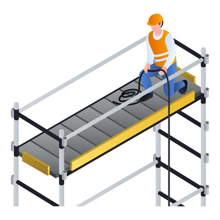 Worker on scaffold icon. Isometric of worker on scaffold icon for web design isolated on white background 写真素材