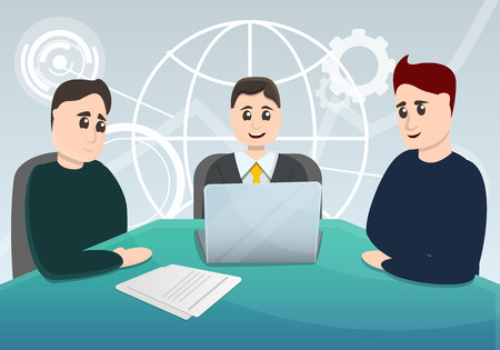 Business planning meeting concept background. Cartoon illustration of business planning meeting concept background for web design Banco de Imagens