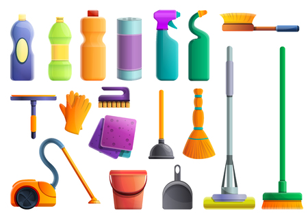 Cleaner equipment icons set. Cartoon set of cleaner equipment icons for web design