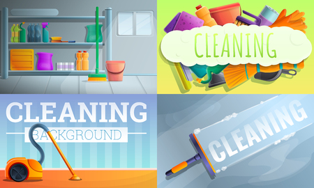 House cleaner equipment banner set. Cartoon illustration of house cleaner equipment banner set for web design