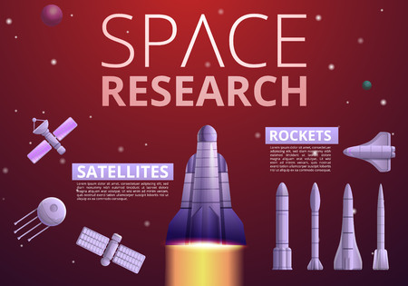 Space research technology infographic. Cartoon of space research technology infographic for web design Banco de Imagens