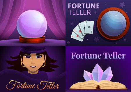 Magic fortune teller banner set. Cartoon illustration of magic fortune teller banner set for web design