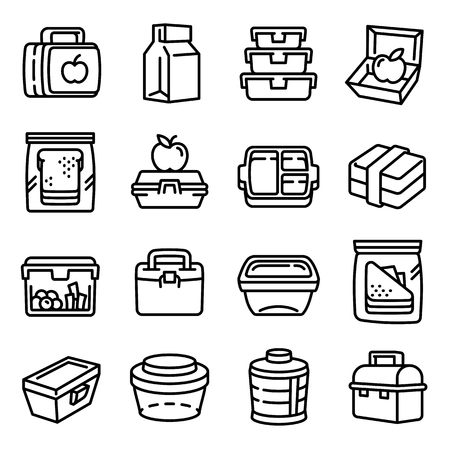 Lunchbox icons set. Outline set of lunchbox icons for web design isolated on white background