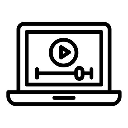 Video clip on a laptop icon. Outline video clip on a laptop icon for web design isolated on white background 写真素材