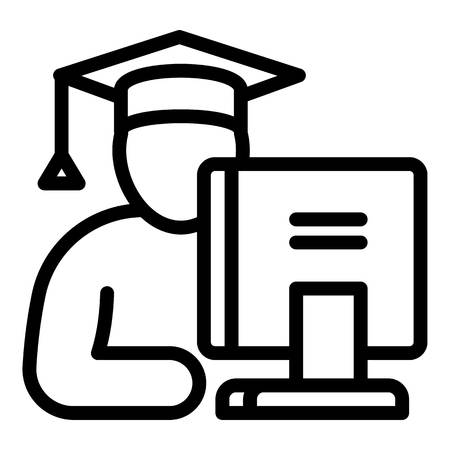 Student at the computer icon. Outline student at the computer icon for web design isolated on white background