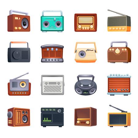 Radio icons set. Cartoon set of radio icons for web design