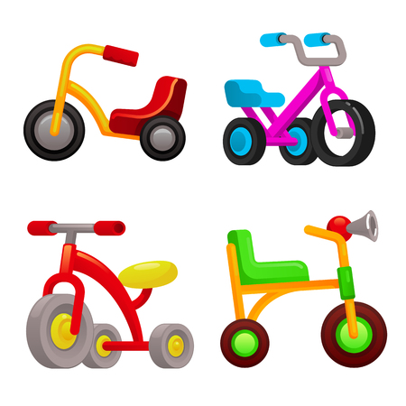 Tricycle icons set. Cartoon set of tricycle icons for web design