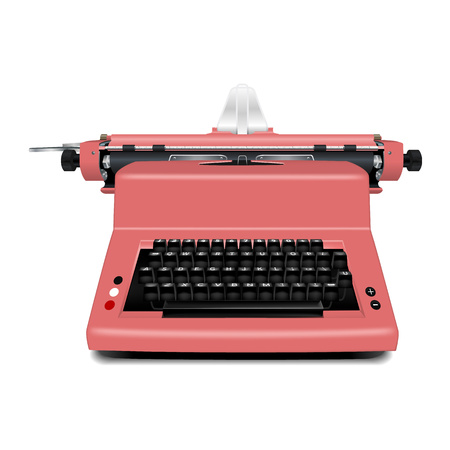 Red typewriter icon. Realistic illustration of red typewriter icon for web design isolated on white background