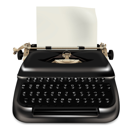 Icono de máquina de escribir negra. Ilustración realista del icono de máquina de escribir negro para diseño web aislado sobre fondo blanco.