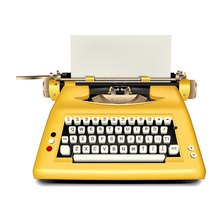 Retro typewriter icon. Realistic illustration of retro typewriter icon for web design isolated on white background