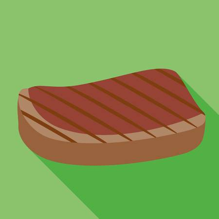 Grilled steak icon. Flat illustration of grilled steak icon for web design