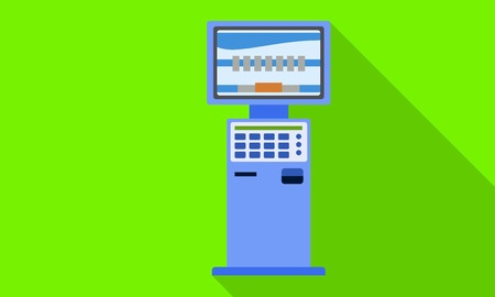 Self service kiosk icon. Flat illustration of self service kiosk icon for web design Фото со стока