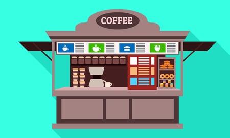 Coffee street kiosk icon. Flat illustration of coffee street kiosk icon for web design Zdjęcie Seryjne