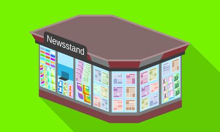 City newsstand icon. Flat illustration of city newsstand icon for web design
