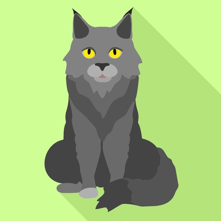 Grey maine coon icon. Flat illustration of grey maine coon icon for web design Stock Photo