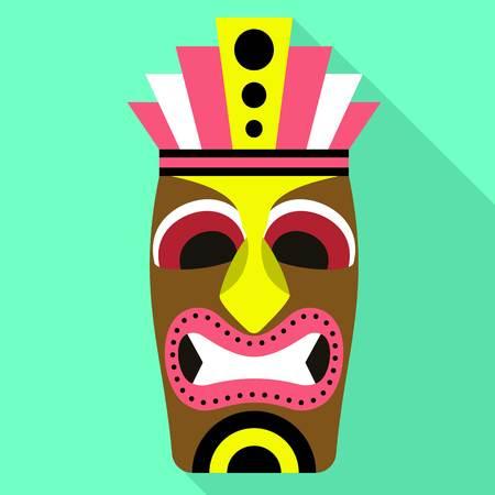 Ancient tiki idol icon. Flat illustration of ancient tiki idol icon for web design 写真素材